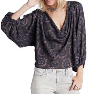 Free People Cowling Around Gray Floral Hi Lo Top